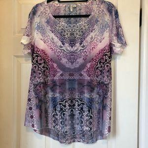 Cato Purple Mandala Print Rhinestone T-Shirt - L